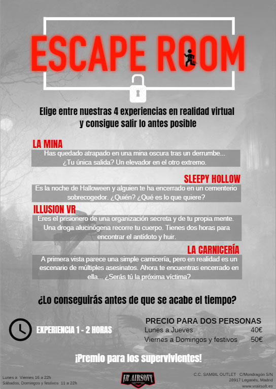 Escape Room Folleto